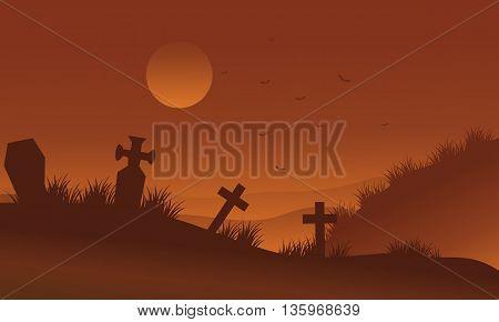 Brown bakcgrounds graveyards Halloween silhouette vector illustration