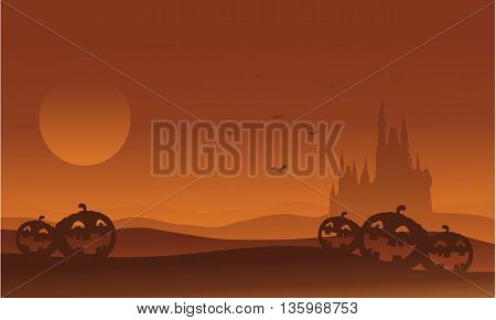 Silhouette of castle and pumpkins Halloween vector illustration
