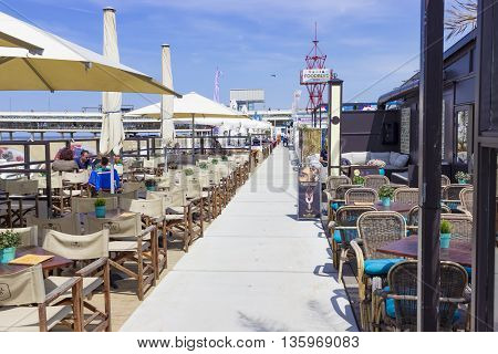 The Hague The Netherlands - June 17 2016: View of Bars alongside the beach in The Hague The Netherlands.