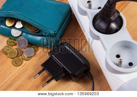 Electrical Power Strip With Plug And Polish Currency Money, Energy Costs