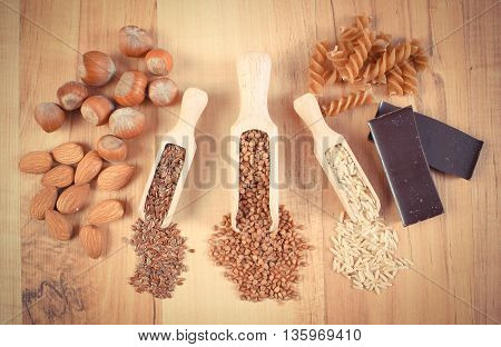 Vintage Photo, Natural Ingredients And Products Containing Magnesium And Dietary Fiber, Healthy Nutr