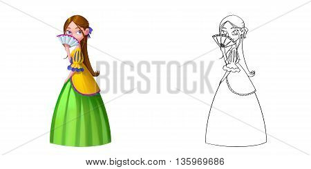 Coloring Book and Princess Girl Character Design Set 8 Smart Maiden Palace Princess Blush with Fan. Realistic Fantastic Cartoon Style Character Story Card Sticker Design