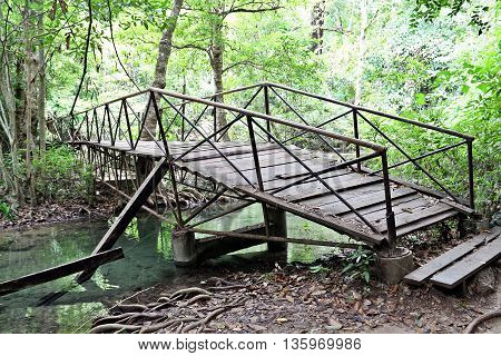 Wooden bridge with steel handle in green forest