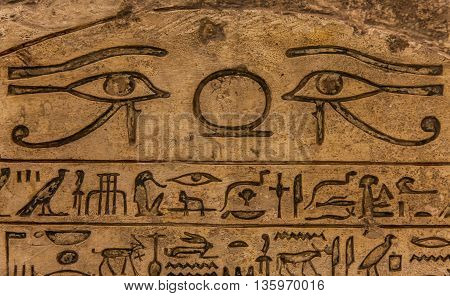 Egyptian hieroglyph on limestone 1500-1200 BC - detail
