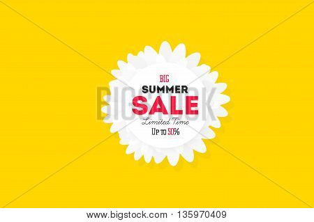 Hot summer sale banner. Vector discount banner template. Modern typography label. Funny text sticker design.