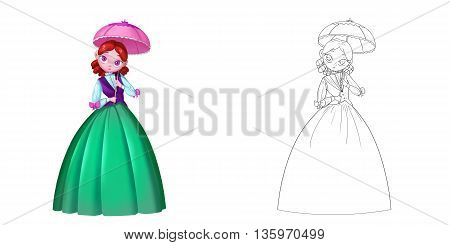 Coloring Book and Princess Girl Character Design Set 9 Delicate Lively Princess with Pink Umbrella isolated on White Background Realistic Fantastic Cartoon Style Character Story Card Sticker Design