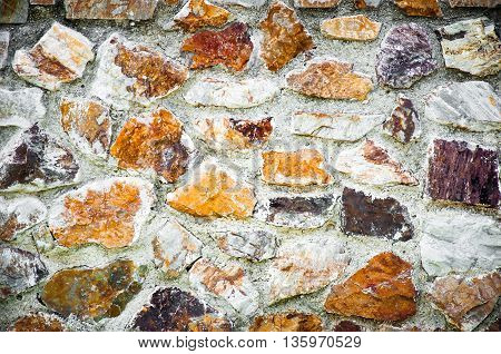 the wall of colorful stone or rock
