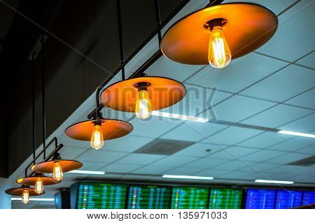 lamp ceiling or bulb lighting retro lighting installed on ceiling can use as background