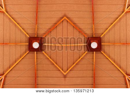 lamp on a wooden ceilings abstract background