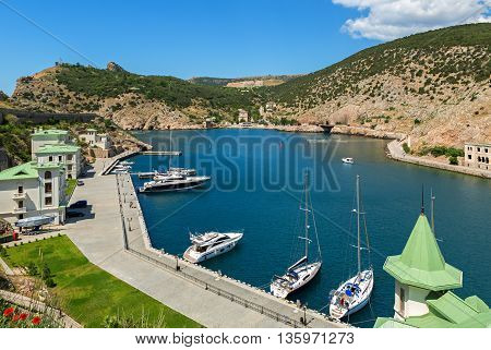 Sevastopol, Russia - June 09, 2016: Yachts and boats in the Balaclava Bay.