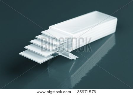 glass microscope slides. Blue colored image
