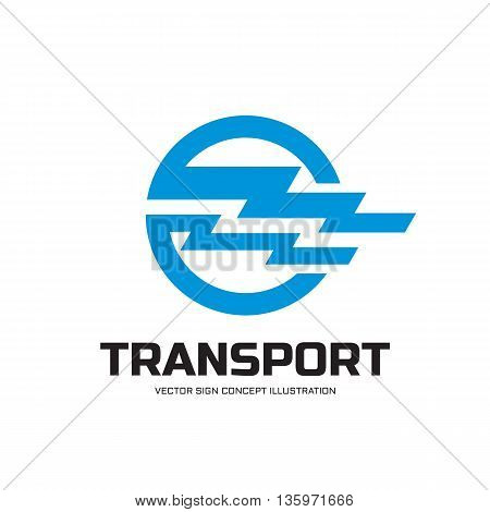 Transport - vector logo concept illustration. Vector logo. Horizontal stripes in circle shape. Design element.
