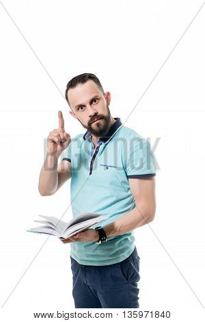 Benefit of reading. Photo concept. Bearded man with book