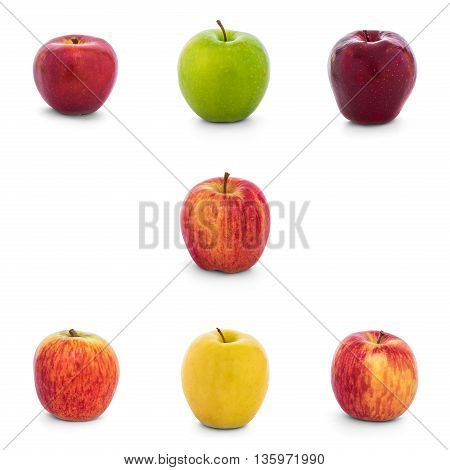 Varieties of apples collection (New Zealand Eve Granny Smith Red Del Ambrosia Divine Lemonade Fuji Gala) isolate on white background with clipping path Side View