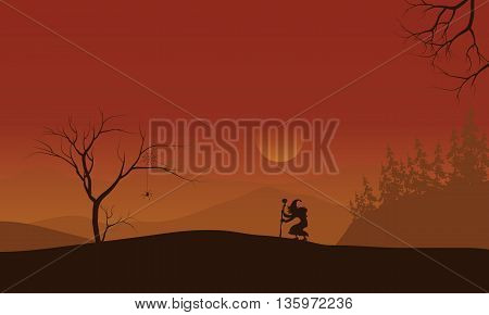 Silhouette of Halloween witch lonely with orange backgrounds