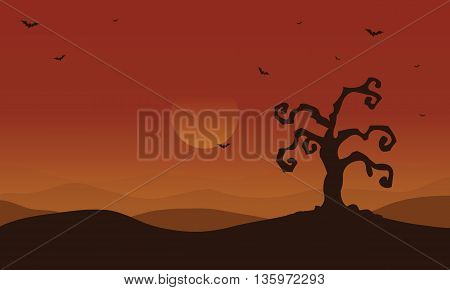 Scenery dry tree and bat at afternoon Halloween illustration