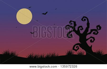 Halloween bat and dry tree scenery illustration vector