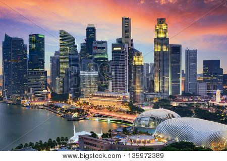 Singapore Financial District skyline at dusk.
