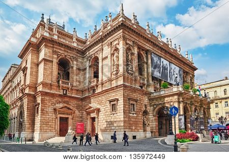 Budapest, Hungary-may 02, 2016:hungarian State Opera House  Is A Neo-renaissance Opera House Located