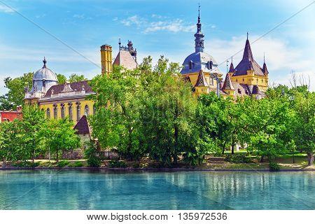 Vajdahunyad Castle (hungarian-vajdahunyad Vara) With Lake Reflection. Budapest, Hungary.