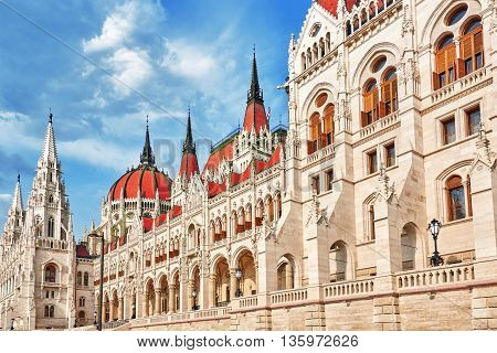 Hungarian Parliament Close-up. Budapest. One Of The Most Beautiful Buildings In The Hungarian Capita