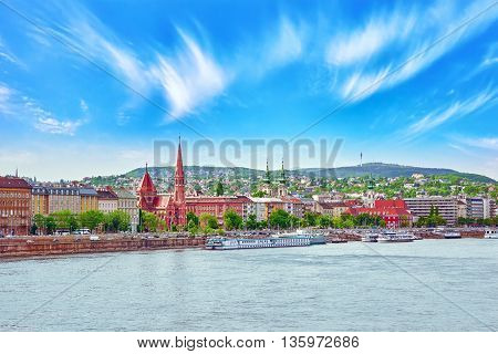 View Of The Side River Danube And The Part Of City Budapest- Buda. Hungary.