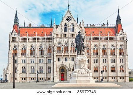 Hungarian Parliament  With Statue Andrassy Gyvla. Budapest.