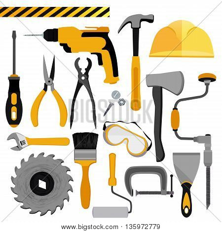 Construction tools set . Vector illustration of Construction tools
