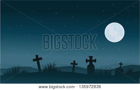 Silhouette of Halloween tomb and full moon backgrounds illustration