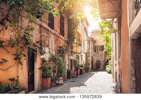 A picturesque street in the historic Trastevere district Rome Italy