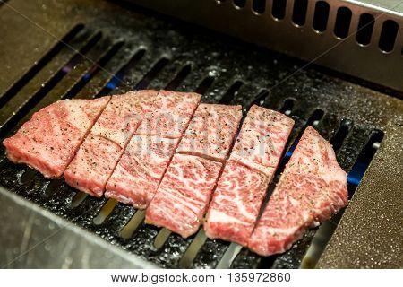 grilled Freshness Japanese wagyu A5 Beef yakiniku