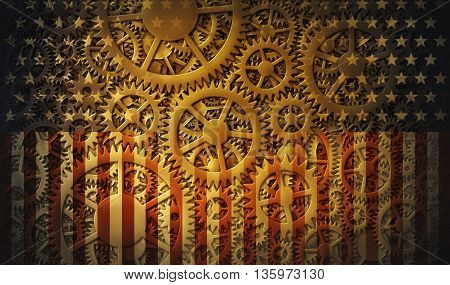 Digital illustration combining hundreds of gears with the stars and stripes of the flag of the United States. The Gears of Democracy.
