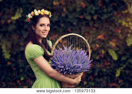 Summer Floral Fairy Girl with Lavender  Basket