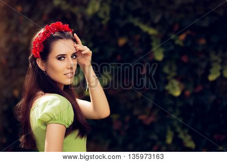 Summer Girl with Red Floral Handmade Headpiece
