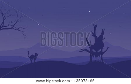 Halloween monster tree and cat silhouette illustration