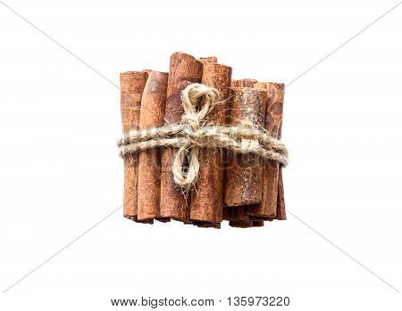 Bunch of cinnamon sticks on white background