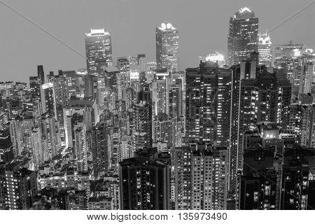 Back & White night view at Hong Kong