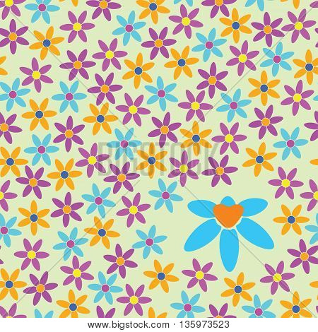 The backdrop of brightly colored flowers. Cheerful background with simple colors. Background pattern with cartoon flowers.