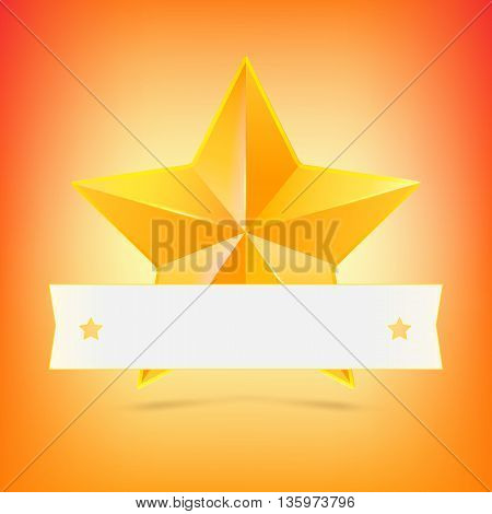 Yellow star with white ribbon on colored background. Symbol of victory in competitions or contests, template for your design