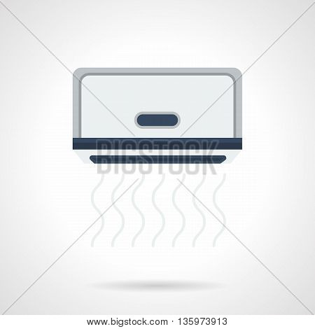 Blowing gray air conditioner. Climatic equipment for office, home and store. Electrical appliances installing service. Flat color style vector icon.