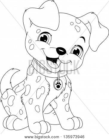 Сute puppy Dalmatian on a white background coloring page