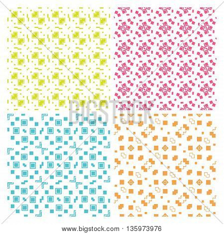 Collection of four simple geometric vector seamless patterns. Green, orange, nagenta and blue