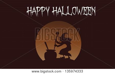 Happy Halloween witch backgrounds vector illustration template