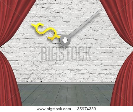 Red Curtain Stage With Money Sign Clock Hands On White Bricks Wall With Green Wooden Floor, 3D Illus
