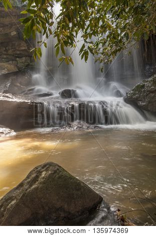 Raging Water Flowing Down Waterfall During Rainy Season Showing Rock Formations Formed By Water Eros