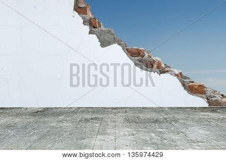 Old Wooden Floor With Cracked Bricks Wall And Blue Sky