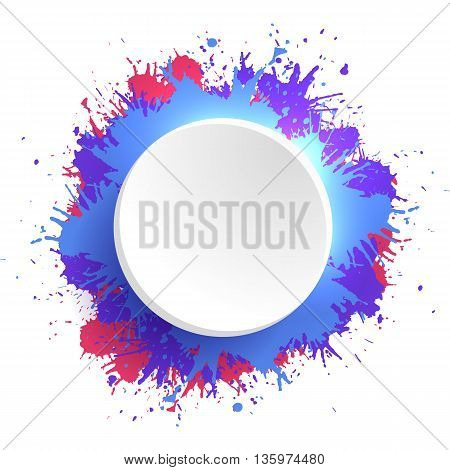 Template round frame with colorful watercolor splashes. Vector element for your creativity