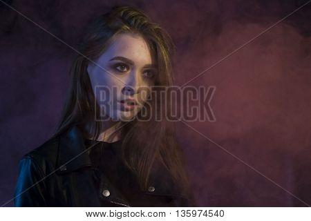 Beautiful Teenager Girl In A Dark Hallway