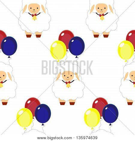 Seamless pattern with sheep and balloons.vector flat illustration for print