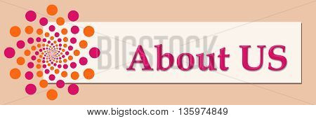About us text written over pink orange horizontal background.